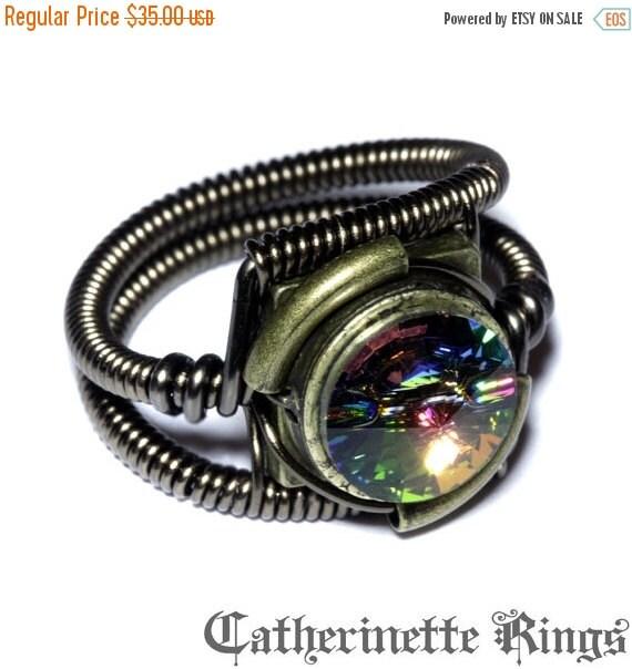 CYBER WEEK SALE - Steampunk Jewelry - Ring - Vitrail Swarovski Crystal