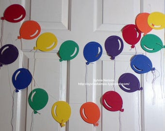 Rainbow Balloon Garland...6 feet of Large Balloons..party decor...Photo Prop...childrens birthday party...80 lb card stock...machine thread!