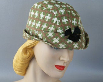 Vintage 1950s Hat Green Plaid Bucket Style Brimmed Cap NOS Sz 6 3/4