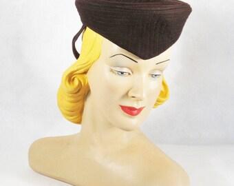 Vintage 1940s Hat Military Inspired Brown Wool Tilt Formans New York Creations