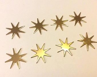 8 Gold Star Charms