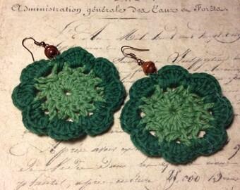Crocheted Earrings - Beautiful Emerald Forest