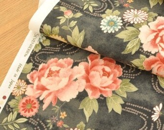 4581 - Japanese Peony Chrysanthemum Floral Cotton Fabric - 42 Inch (Width) x 1/2 Yard (Length)