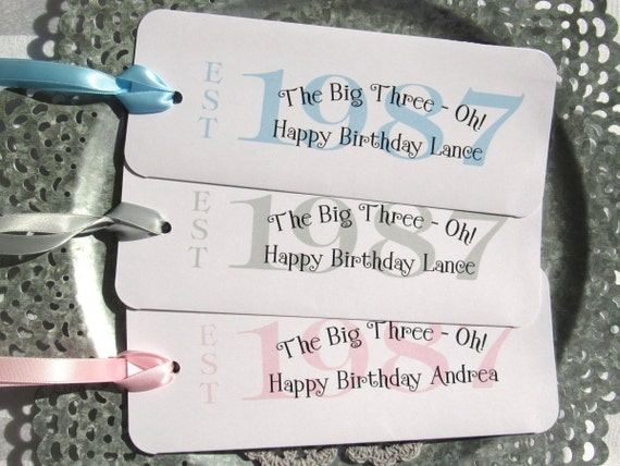 30th Birthday Favors - Candy Bar Wrappers - 30th Birthday Party - 1987 Favors - Favors For 30th - Milestone Birthday - Adult Birthday Favor