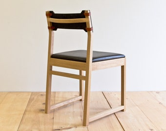 Tab Dining Chair - White Oak - Leather Back