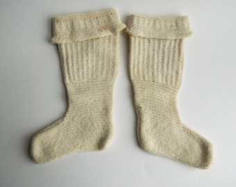 Vintage Hand Knit Wool Infant Baby Stockings