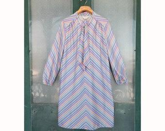 Vintage Graphic Primary Color Stripe Dress Plus Size
