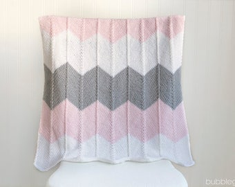 Chevron Striped Baby Blanket, Crib Blanket, Pink And Grey,  READY TO SHIP Newborn Photo Prop