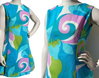 Vintage 60s Hawaiian Dress Mod Print Turquoise Sundress by Polynesian Casuals M