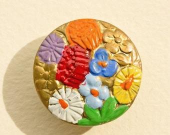 NOW  ON SALE Art Deco Cold Enamel Floral  Button, Vibrant Bright Summer Colors 1920-1930's