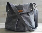 Grey Waxed Canvas Messenger Bag, Modular Messenger Bag in GRAY Waxed Canvas, Laptop Bag, Diaper Bag, Travel Bag, flap, long strap waxed bag