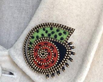 Abstract swirl brooch