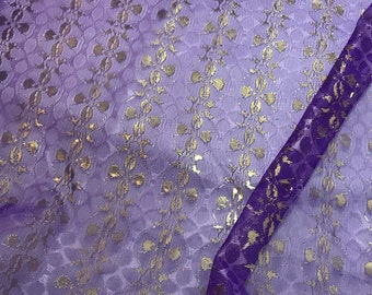 Vintage Purple & Gold Floral METALLIC LACE Fabric  1/3 Yard