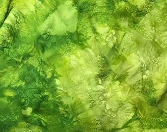 """Hand Dyed Apple Green FLORAL - Silk Jacquard Fabric - 9""""x22"""" remnant"""