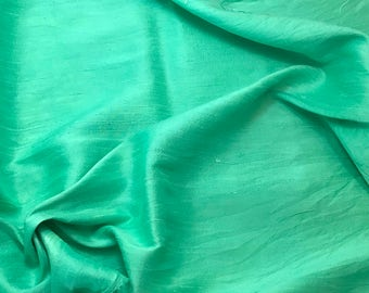 Hand Dyed SPEARMINT GREEN Silk DUPIONI Fabric - 1 Yard