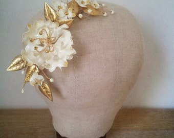 Bridal hairpiece - JENNY- gold, ivory, gold leaves, hair vine.