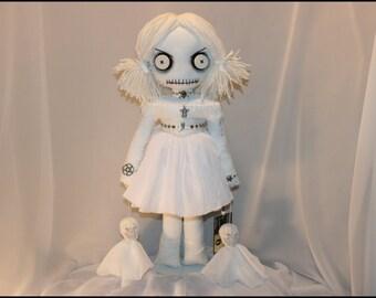 OOAK Spooky Ghost Dead Rag Doll Creepy Gothic Halloween Folk Art By Jodi Cain Tattered Rags