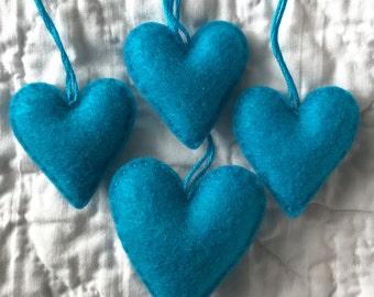 Turquoise aqua heart ornament set