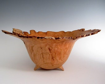 Wood Bowl - Cherry Burl Wood Turned Bowl - Artistic Bowl - Lathe Turned Bowl - Wood Turning Bowl - Christmas Gift - Wood Centerpiece Bowl