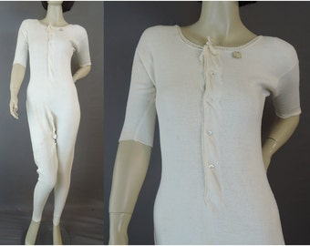 Vintage  Women's Knit Union Suit 36 bust, Antique Split crotch, One Piece Long Johns Underwear,  unworn with tags