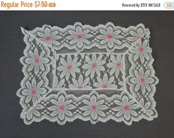 SALE 50% off - 2 Vintage Lace Doilies, White Daisies with Pink, 10 x 13 inches, 1960s Decor