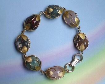 Vintage 60s Caged Quartz Agate Gemstone Bracelet
