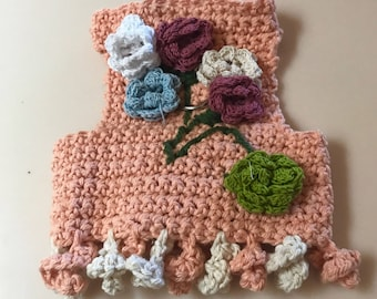 Small cotton Crochet Peach Flowered Harness Vest  Chihuahua Clothes Dog Clothes