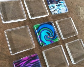 QTY. 50  Clear Glass Cabochons Tiles Flat Square Glass 20mm x 20mm 4mm thick Pendants Earring Charms Jewelry Making