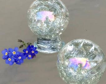 1 XL Iridescent Crackled Glass Marble Clear Baked Art Iridized 35mm  1 3/8 inch Large Crystal