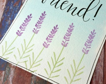 Lavender Stem and Flowers - Hand Carved Rubber Stamp (Set of Two)