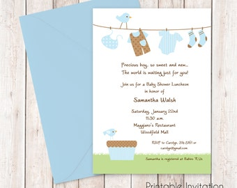 Boy Clothesline Baby Shower Invitation, Printable Invitation Design, Custom Wording, JPEG File
