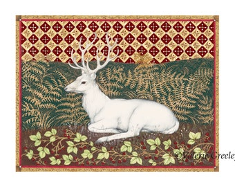 White Hart print by Valerie Greeley