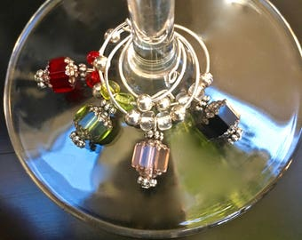 Wine Charms - Czech Glass Cathedral Beads