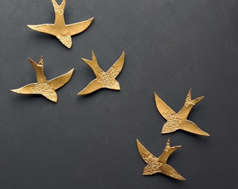 Porcelain wall art Swallows over Morocco Gold birds Wall sculpture Ceramic wall art for bathroom Bedroom Living room set of 5 Bright gold