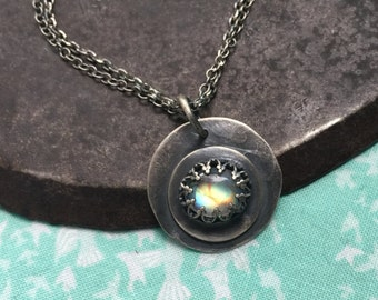 remember who you are. fancy rainbow moonstone necklace