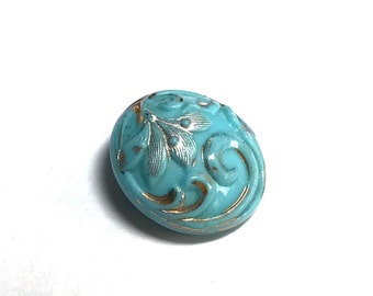 Antique Victorian Glass Button - Blue - Late 1800's