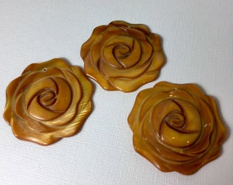 Mother of Pearl  Rose Pendant Trio in Butterscotch