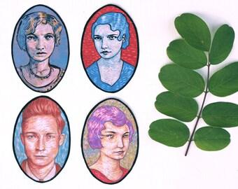 sticker portrait pack - 4 stickers