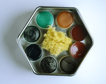 The Forest Palette, Anthesis Arts Artisanal Handcrafted Watercolor Paints, Small Petal Caps, Hexagon Travel Set of Eight