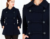 Vintage 1960's Fitted Cropped Navy Blue Peacoat with Braided Rope Detail by Modelia | Small/Medium