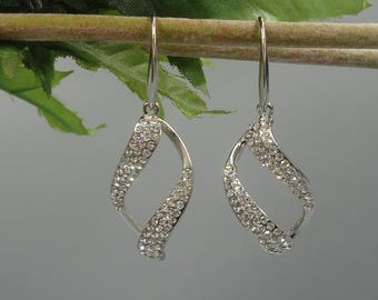 Cubic Zirconia Dangle 14K White Gold Plated Earrings, Bridesmaid, Wedding Gift Bridal Earrings