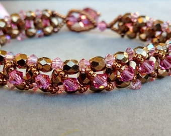Bronzepony Pink Crystal Tennis Bracelet Stackable Bracelet Beaded Bracelet Swarovski Pink Beaded Jewelry Seed Bead Bangle Beadwork BLUSH
