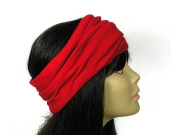 Red Cotton Head Wrap 100% Cotton Head Wrap Red Yoga Head Wrap Yoga Headband Red Cotton Headband Wide Red Headwrap Red Yoga Cotton Head Wrap