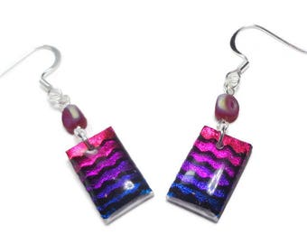 Fushsia Blue Dichroic Earrings- polymer clay jewelry- Resin earrings- Crystal Earrings- Ready to Ship- Gifts for Her Birthday