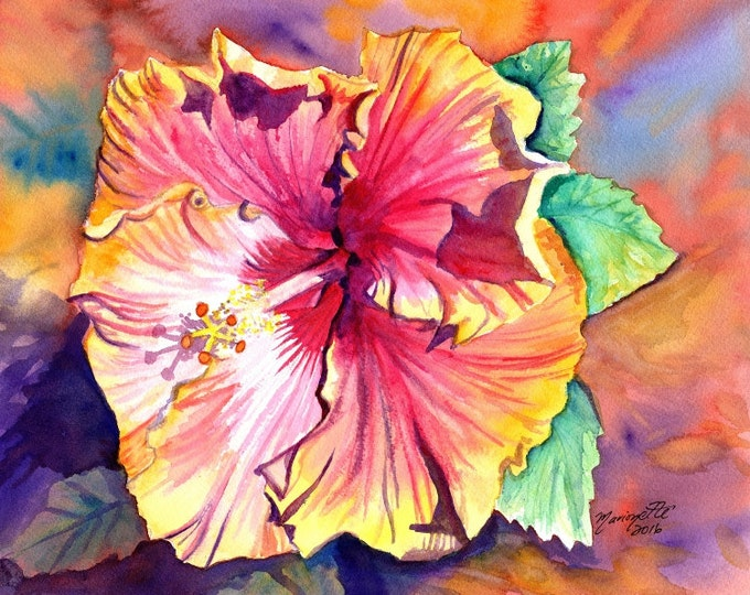Tropical Hibiscus 8x10 giclee print, Hawaiian art,  orange hibiscus, hibiscus art, kauai art print,  kauai paintings, hawaiiana, kauaiartist