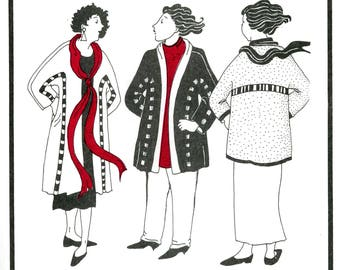 """Park Bench Pattern No. 4 Balboa Park Jacket with Lattice Detail Design Wearable Art Fit Busts Up To 51"""" Uncut Sewing Pattern"""
