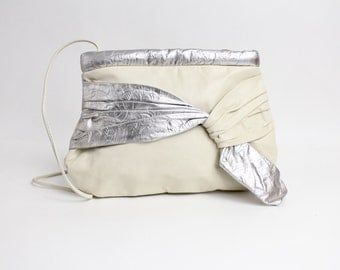 Vintage 1980s Leather Purse | Metallic Silver Leather Bow Shoulder Bag | Large Puffy Leather Purse