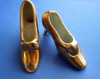 Miniature Vintage Shoes Tiny Golden Slippers 1950s Shoe Collector Glazed or Painted China or Porcelain - Collectible Kitsch