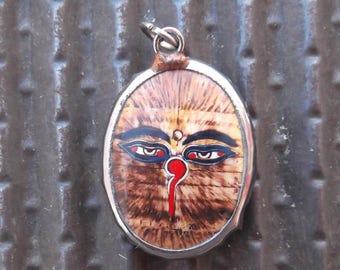 Buddha's Eyes with AMBER Written BackgroundVitreous Enamel Pendant