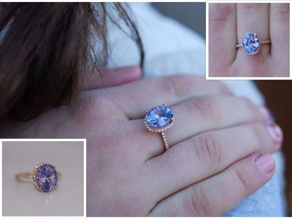 Lavender sapphire ring diamond ring 14k rose gold engagement ring 4.6ct oval lavender sapphire. Engagement ring by Eidelprecious